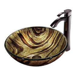 Vigo - Zebra Vessel Sink in Multicolor with Oil Rubbed Bronze Faucet - The VIGO Zebra Above The Counter Round Tempered Glass Vessel Sink brings a radiant jungle light to your bathroom. Coupled with an oil-rubbed bronze faucet, this sink brings a distinguished elegance into your bathroom.