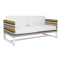 Mamagreen - Stripe 2-Seater Sofa - The Stripe 2-Seater Sofa combines highly weather resistant powder coated aluminum with durable textile. Displaying intelligent design, Stripe Sofa is true outdoor luxury. Available in a variety of mesh colors.