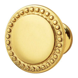 Renovators Supply - Cabinet Knobs Bright Solid Brass Beaded 1-1/2'' Dia Cabinet Knob - This simple knob has just the right amount of decoration.  It is polished brass. It projects 1-1/4 in. and the knob diameter is 1-1/2 in..