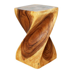 Kammika - Big Twist Stool Sustainable Wood 12x12x20 inch High w Eco Friendly Livos Oak Oil - Revel in the simplistic beauty of our Sustainable Monkey Pod Wood Big Twist Stool 12 inch x 12 inch x 20 inch height with Eco Friendly, Natural Food-safe Livos Oak Oil Finish. Very impressive, this elegant piece can be appreciated from any angle. Use it as an end table, display stand or stool; two together can serve as a coffee table. Livos Oak oil finish creates a water resistant and food safe matte finish. The color and grain shows through in brownish reddish tones. The light and dark portions turn to darker shades of brown over time and the alkaline in the oils creates a honey orange color. Hand carved from a piece of Monkey Pod wood, these are easily moved around for use in any situation. Each piece is a Work of Art! Craftspeople from the Chiang Mai area in Northern Thailand create these pieces with the simplest of tools. After each sustainable Monkey Pod wood (Acacia, Koa, Rain Tree grown for wood carving) stump is kiln dried, carved and sanded by Thai artisans, it is rubbed in Livos Oak tone oil. These natural oils are translucent, so the wood grain detail is highlighted. There is no oily feel and cannot bleed into carpets, as it contains natural lacs. Hand crafted from a sustainable Monkey Pod wood species, we make minimal use of electric hand sanders in the finishing process. All products are dried in solar and or propane kilns. No chemicals are used in the process, ever. After each stool is carved, kiln dried, sanded, and hand rubbed with Livos oil, they are packaged with cartons from recycled cardboard with no plastic or other fillers. The color and grain of your piece of Nature will be unique, and may include small checks or cracks that occur when the wood is dried. Sizes are approximate. Products could have visible marks from tools used, patches from small repairs, knot holes, natural inclusions or holes. There may be various separations or cracks on your piece w
