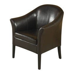 Armen Living - Armen Living 27 Inch Leather Club Chair in Brown - Armen Living - Club Chairs - LCMC001CLBC - Lap of luxury. This smart looking rich brown leather club chair is great for home or office. Comfortable padding and California Fire Retardant rated.
