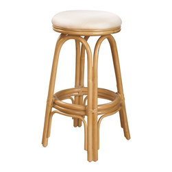 Hospitality Rattan - Hospitality Rattan Carmen Rattan & Wicker Natural Swivel Bar Height Stool - A traditional counter stool that is both charming and beautiful The Carmen counter stool is a wicker and rattan swivel barstool that is built with solid rattan pole construction. The Carmen Collection offers three basic finishes Antique Natural and Whitewash. The counter stools feature commercial grade reinforced rattan bases swivel mechanisms & reinforced double pole footrests. The stool will come with instructions and requires assembly. This counter stool comes with a comfortable beige cushion as shown. For an upcharge you can choose from your choice of over 35 indoor fabrics with a variety of colors and patterns to match your decor. Great for entertaining you will always have plenty of seating when guests drop by with the Carmen Counter stool. Since 2000 Hospitality Rattan has been designing and distributing contract quality rattan wicker and bamboo furnishings. A variety of indoor and outdoor collections derived from the best possible materials is available for the furniture buyer who wants that tropical feel. Features include Includes cushion with fabric as shown Swivel Mechanism Included Constructed of commercial quality rattan poles Requires Some Assembly (Instructions Included). Specifications Finish: Natural Material Type: Rattan Poles & Woven Wicker.
