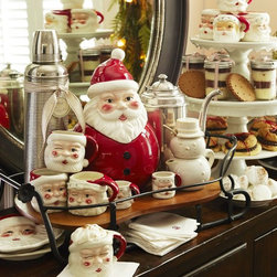 Santa Mugs, Set of 4 - This organized mess is the perfect shabby-chic way to entertain over the holidays. The Santa mugs are priceless.
