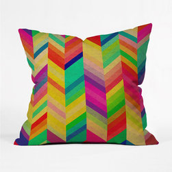 Rainbow Chevron Pillow Cover - Red, orange, yellow, and more zigzag across this glowing throw pillow cover, making it whimsical and versatile. Matching it to your decor with it is a cinch: pluck out one hue and indulge.