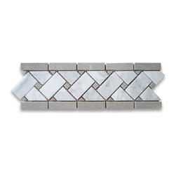 Stone Center Corp - Carrara White Marble Basketweave Mosaic Border Gray Dots 4x12 Polish - Premium Grade Basketweave White Carrara Marble Border tiles. Italian White Carrara Marble Italian Bianco Carrera White Venato Carrara Polished 4 x 12 Basket Weave Mosaic border Basketweave Mosaic Borders with Gray Dots Listello Tiles are perfect for any interior/exterior projects. The Carrara White Marble Basketweave Mosaic Borders with Grey Dots can be used for a kitchen backsplash, bathroom flooring, shower surround, countertop, dining room, entryway, corridor, balcony, spa, pool, fountain, etc.
