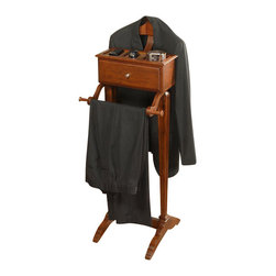 """Powell Furniture - Powell Furniture Marquis Cherry Men's Valet - Powell Furniture - Coat Racks - 508386 - The Marquis Cherry Men's Valet is a coat rack, pant rack, drawer unit and top storage unit all in one. This piece is the perfect catch all for any room in your home. The outside is finished in a rich """"marquis cherry"""" while the inside is lined in plush black."""