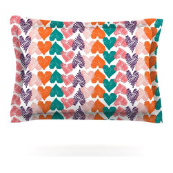 """Kess InHouse - Louise Machado """"Hearts"""" Pillow Sham (Woven, 30"""" x 20"""") - Pairing your already chic duvet cover with playful pillow shams is the perfect way to tie your bedroom together. There are endless possibilities to feed your artistic palette with these imaginative pillow shams. It will looks so elegant you won't want ruin the masterpiece you have created when you go to bed. Not only are these pillow shams nice to look at they are also made from a high quality cotton blend. They are so soft that they will elevate your sleep up to level that is beyond Cloud 9. We always print our goods with the highest quality printing process in order to maintain the integrity of the art that you are adeptly displaying. This means that you won't have to worry about your art fading or your sham loosing it's freshness."""