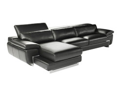 Nicoletti - Nicoletti Oregon I Black Italian Leather Sectional Sofa with Left Chaise - Featuring Italian leather in black, lumbar support cushions, high density foam and adjustable headrest with ratchet mechanism, the Nicoletti Sectional Sofa with Left Chaise will provide premium comfort and inimitable style in any contemporary living room.