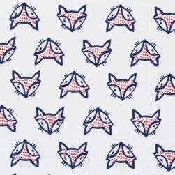 Serena & Lily - Fox Standard Pillowcases  Set of 2 - In classic navy and red, this whimsical print makes us smile every time we see it. Foxes appear right side up and upside down, for added playfulness.