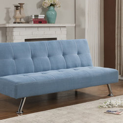 None - K&B Blue Klik Klak Sofa Bed - This modern Klik Klak sofa bed features a unique,pressed design with a wood frame and metal legs. This bed conveniently clicks into two positions,sleep and upright,and will make a bold statement in your living room or guest room.