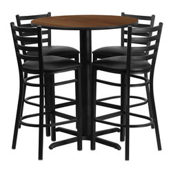 """Flash Furniture - 30'' Round Walnut Table Set with 4 Ladder Bar Stools - Black Vinyl Seat - No need to buy in pieces, this complete Bar Height Table and Stool set will save you time and money! This set includes an elegant Walnut Laminate Table Top, X-Base and 4 Metal Ladder Back Bar Stools. Use this setup in Bars, Banquet Halls, Restaurants, Break Room/Cafeteria Settings or any other social gathering. Mix in Bar Height Tables with standard height tables for a more varied seating selection. This Commercial Grade Table Set will last for years to come with its heavy duty construction. Round Table and Metal Restaurant Bar Stool Set; Set Includes 4 Bar Stools, Round Table Top and X-Base; Metal Restaurant Bar Stool; Ladder Style Back; Black Vinyl Upholstered Seat; 2.5"""" Thick 1.4 Density Foam Padded Seat; CA117 Fire Retardant Foam; 18 Gauge Steel Frame; Welded Joint Assembly; Two Curved Support Bars; Foot Rest Rung; Black Powder Coated Frame Finish; Plastic Floor Glides; Lightweight Design; Designed for Commercial Use; Suitable for Home Use; Overall Size: 17""""W x 18""""D x 42.25""""H; Seat Size: 16.75""""W x 16.5""""D x 31""""H; Back Size: 15""""W x 12""""H; Restaurant/Banquet Table Top; 1.125"""" Thick Round Top; Overall dimensions: 30""""W x 30""""D x 42""""H"""
