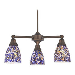 Design Classics Lighting - Mini-Chandelier with Blue Glass in Neuvelle Bronze Finish - 598-220 GL1009MB - Transitional neuvelle bronze 3-light chandelier. Takes (3) 100-watt incandescent A19 bulb(s). Bulb(s) sold separately. Dry location rated.