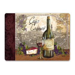 """Reserve Vintage Wine/Grape/Cheese Hardboard, Cork-Back,Placemat - Reserve Vintage Wine/Grape Cork-back, Non-skid, Hardboard 15.75"""" x 11.5"""" Table Mat/Placemats are produced using layered construction for years of carefree use. This beautiful designer art product is special ordered  for you from the manufacturer. It is not returnable and may take a little longer to receive."""