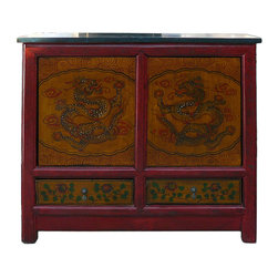 Golden Lotus - Chinese Dragons Graphic Side Table Cabinet - This is a decorative piece with oriental dragons graphic painted on the doors.
