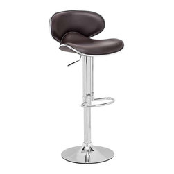 Zuo Modern - Zuo Modern Fly Barstool, Espresso - With high back and plush seat, the Fly has the most comfort for a barstool. It has a leatherette seat, a hydraulic piston, and an chrome plated foot rest and steel base.
