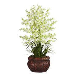Nearly Natural - Dancing Lady Silk Flower Arrangement - Rich compliment of colors. An elegant finishing touch to any space. You'll never need to water. Construction Material: Polyester material, plastic, Iron, Wood, PVC Leather. 16 in. W x 16 in. D x 30 in. H ( 4 lbs. ). Pot Size: 10 in. W x 6.25 in.HNamed for their resemblance to dancing ladies with flowing dance skirts, our Dancing Lady with vase brings a bit of that graceful rhythm to you. Each flower is a rich complimentary set of colors that will please someone viewing up close, or admiring from afar. As an elegant finishing touch, our 30 inch high Dancing Lady rests in a beautifully designed cross weave brown vase.  Best of all, you'll never need to water!