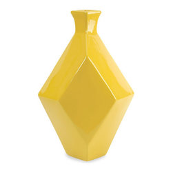 Ceramic Diamond Vase in Yellow - Invite your favorite flora to take center stage with this Ceramic Diamond Vase. A geometric diamond shape in a bold mustard color, this vase will beautifully showcase all your summer botanicals.