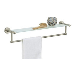 Organize It All - Satin Nickel Glass Shelf with Towel Bar - Our easy to mount on the wall to provide you with more counter space. Add a touch of glam to your bathroom or any other room in your home. Also perfect for displaying your collection of gorgeous perfume bottles.