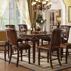 """Acme Furniture - Winfred 9Pc Counter Height Set in Cherry - Winfred 9Pc Counter Height Set in Cherry; Set includes counter height table and 8 counter height chair.; Finish: Cherry; Materials: Wood, MDF, Poly Decor, Poly, Foam; Table: Wood Frame & Legs, MDF Veneered, Poly Resin Decoration; Chair: Wood Frame with Poly Resin Decor, Fireproof Fabric & Foam, Leather Back & Cushion; Weight: 245 lbs; Dimensions: Table: 60""""W x 42"""" ~ 60""""L (Includes 1 x 18"""" Leaf) x 36""""H; Chair: 24"""" Seat Height"""