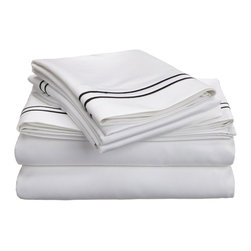 """Egyptian Cotton 800 Thread Count Embroidered Sheet Set - Cal. King - White/Black - Bring a touch of elegance to your bedroom with this Egyptian Cotton 800 Thread Count Embroidered Sheet Set. This sheet set features a minimalistic but magnificent design consisting of embroidered colored lines atop sateen solid colored fabric creating an updated look to a classic design. Each set includes (1) Fitted Sheet: 72""""x84"""", (1) Flat Sheet: 108""""x102"""", and (2) Pillowcases: 20""""x40""""."""