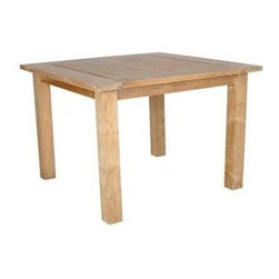 Anderson Teak - Windsor Unfinished 47 in. Square Table - Accommodates 4 seats. Teak wood construction. 47 in. L x 47 in. W x 29 in. H (40 lbs.)This table is perfect for gathering with friends and family. Table can be used with any mix and match chairs. It seats 4 people comfortably.