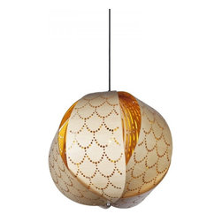 ParrotUncle - Wooden Fish Scale Carved Pendant Lamp - Wooden Fish Scale Carved Pendant Lamp