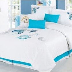 Westport Linens, Inc. - Panama Jack Ocean Shells 7-Piece Comforter Set - Bring the seaside to your bedroom with the Panama Jack Ocean Shells 7-Piece Comforter Set. The delicate shell pattern printed in shades of serene blue on a pure white base creates a serene and tranquil atmosphere reminiscent of the sea.