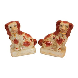 """8"""" Brown & White Dogs, Set Of 2 - These little guys are so cute tucked onto a shelf in a bookcase. Pair of Reproduction Staffordshire dogs."""