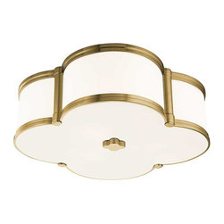 Hudson Valley Lighting - Hudson Valley Chandler I-3 Light Flush Mount in Aged Brass - Hudson Valley Lighting's Chandler's I-3 Light Flush Mount shown in Aged Brass. Our four-leaf clover ceiling fixture is a lucky find. From Mediterranean to modern, Chandler's inviting glow of ambient light is a welcome addition to any well-appointed space. Cast metal and custom opal glass give lasting life to this quatrefoil design.