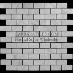Carrara Marble Italian White Bianco Carrera 1x2 Mosaic Tile Honed - Bianco Carrara Marble 1x2 Mosaic Tile is also known as White Carrera Marble 1x2 Mosaic Tile. Premium grade marble 1x2 mosaic tile is perfect for both residential and commercial projects. Marble 1x2 Mosaic Tiles are mainly preferred as floor tiles for their clean, aesthetic qualities. A large selection of coordinating products are available, including Carrara basketweave mosaics, Carrara herringbone mosaics, Carrara hexagon mosaics, 3x6 marble subway tiles, 12x12 Carrara marble tiles, 4x4 Carrara marble tiles, Carrara borders, Carrara moldings and Carrara baseboards, each available in Polished, honed and Tumbled finishes.