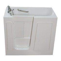 """Ella's Bubbles - Ella Small 45"""" Long Air Massage Walk In Bath, Left Side Door and Drain - Ella Small Walk in Bathtubs are the smallest offered walk in tubs by Ella. These walk in tubs will pass thru 26 in. doorways and can be placed in 45 in. openings. The bi-fold door allows it for the bather to step into bath and close the door without hitting the bathers legs. This walk-in tub is constructed of the highest grade fiberglass composite with a gel coat high gloss finish for beauty and durability. It is supported with a durable stainless steel frame. This walk in tub also includes an anti-slip floor, low step in threshold for easy entrance, an extension panel to fit into 60 in. opening, safety grab bar, 3 minute fast drain, and high quality 5 piece Fast Filling Roman Faucet set (18GPM at 60PSI) including pull out hand shower. You can choose this walk in tub in left or right hand side door and drain. It also comes in soaking or the massage: air, hydro or dual massage options."""