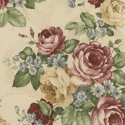 Large Scale Floral Burgundy - CH22529 - Collection:Grand Chateau