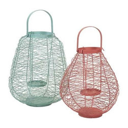 Palermo Wire Lanterns - Set of 2 - The set of two Palermo wire lanterns feature hurricane glass inserts in a fresh color combo.