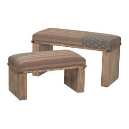 Sterling - Sterling 138-082/S2 Nationalset Of 2 Wooden Benches - Sterling 138-082/S2 Nationalset Of 2 Wooden Benches