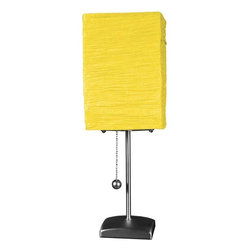 "Oriental Furniture - 17"" Yoko Table Lamp - Yellow - This Yoko Table Lamp brings style and illumination in abundance! Featuring a sleek, contemporary metal frame and an organic, crinkled rice paper shade, this lamp's playful contrast of shape and texture is sure to delight."