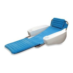 Swim Ways - SwimWays Catalina Lounge Floating Pool Chair - SwimWays Catalina Lounge Floating Pool Chair lets you relax in style. The fade resistant, suede-like lounge bed features an inflatable head and foot rest for personalized support.