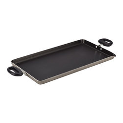 Farberware - Nonstick Aluminum Double Burner Griddle - Constructed from heavy-duty aluminum that heats quickly and evenly, this nonstick griddle sits over two burners and features a handy spout to drain excess oils and fats.   18'' W x 10'' H Nonstick aluminum Oven-safe to 350°F Dishwasher-safe Imported