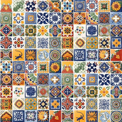 "Casa Daya - 100 Hand Painted Talavera Mexican Tiles - 100 4"" x 4"" tiles for your craft or construction project."