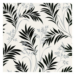 Brewster - Midori White Bamboo Silhouette Wallpaper - Nothing appears more mysterious than a silhouette, and this classic botanical pattern waves seductively. This black, white and gray wallpaper will set off your favorite bright, solid colored furniture.