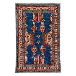 "ALRUG - Handmade Dark Blue Oriental Kazak Rug 3' 6"" x 5' 5"" (ft) - This Afghan Kazak design rug is hand-knotted with Wool on Cotton."