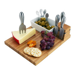 Picnic At Ascot - Picnic at Ascot Buxton Cheese Board Set - CB10 - Shop for Cutting Boards from Hayneedle.com! We've seen a lot of cheese boards in our day but this one has it all. The Picnic at Ascot Buxton Cheese Board Set comes with a visually striking bamboo board that features a removable ceramic tray and magnetic strips to hold the stainless steel tools that are included in place. Two cheese knives a spreader and a fork as well as 4 stainless steel cocktail sticks are included in this wonderfully functional set.About Picnic at AscotDay or evening beachside or backyard picnics are a favorite event. By introducing Americans to the British tradition of upmarket picnics over a decade ago Picnic at Ascot created a niche for picnic products combining British sophistication with an American fervor for excitement and exploration. Known as an industry leader in the outdoor gift market Picnic at Ascot houses a design staff dedicated to preserving the prized designs and premium craftsmanship signature to the company. Their exclusive products are carried only by selective merchants. Picnic at Ascot provides quality products that meet the demands of today yet reflect classic picnic style.