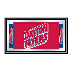 Trademark Global - Wood Framed Wall Mirror w University of Dayto - Easily showcase both your school spirit and your style with this horizontal wall mirror, featuring a black wrapped wood frame that sets off the red University of Dayton Flyers logo featured on the front. The mirror is a perfect accent for a game room or bar area, and would make a perfect gift for any college sports fan. Great for gifts and recreation decor. Mirror with high quality print. Logo is shown in team colors. Black wrapped wood frames. 26 in. W x 15 in. H (7 lbs.)This officially licensed NCAA mirror is the perfect gift for the College Sports Fan in your life. Full of your favorite team's colors, this is a must have for your wall!