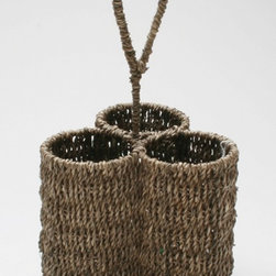 Tag Everyday - Seagrass 3-Part Caddy in Coffee - Natural seagrass is renewable, versatile and long lasting. Seagrass is twisted by hand into twine. Hand woven. Woven handle for easy carrying. Powder coated metal frames. Can be used in bathroom or office. Each section: 3.5 in. Dia.. Each part: 7 in. Dia. x 12 in. H