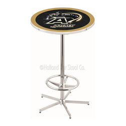 Holland Bar Stool - Holland Bar Stool L216 - 42 Inch Chrome Us Military Academy (Army) Pub Table - L216 - 42 Inch Chrome Us Military Academy (Army) Pub Table  belongs to College Collection by Holland Bar Stool Made for the ultimate sports fan, impress your buddies with this knockout from Holland Bar Stool. This L216 US Military Academy (ARMY) table with retro inspried base provides a quality piece to for your Man Cave. You can't find a higher quality logo table on the market. The plating grade steel used to build the frame ensures it will withstand the abuse of the rowdiest of friends for years to come. The structure is triple chrome plated to ensure a rich, sleek, long lasting finish. If you're finishing your bar or game room, do it right with a table from Holland Bar Stool.  Pub Table (1)