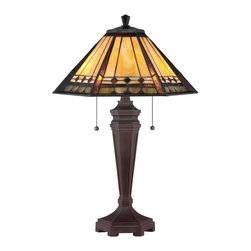 Quoizel - Quoizel TF1135T Arden Tiffany Table Lamp - This transitional family comes with an authentic bronze patina for the floor & table lamps while the fixtures boast a rich Russet finish.