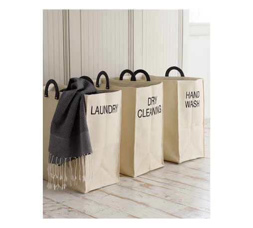 Dransfield & Ross - Dransfield & Ross Dry Cleaning Tote - These crisp, tidy laundry totes make wash day a little easier and a lot more attractive. Line them up in the bathroom or closet, and as they get filled up, the sorting is already done. Woven of cellulose, lined with polyester, and finished with wooden h...