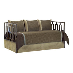 Southern Textiles - Southern Textiles Paramount Stockton 5-Piece Daybed Ensemble - Southern Textiles - Daybed Bedding - 80JQ400STK. This smart set incorporates chocolate brown tan and the weave can give off a strong green tone with a slightly blue undertone for a more tailored look that can bring strength and serenity to any room.