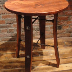 "accent furniture - Round stave table made from California wine barrels, pine stain finish. 25""H x 20""W x 20""D"