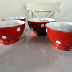 4 Vintage Longchamps by The Ledger Lady - Red vintage Longchamps latte bowls in a classic polka dot design. Love!