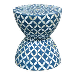 Kathy Kuo Home - Cornflower Coastal Beach Hourglass Blue White Inlaid Shell Stool Side Table - Classic and coastal meets floral and festive in this handcrafted blue cast stone and scallop shell mosaic. The hourglass shape creates an unexpected side table or nightstand. It can also be used as a stylish stool in a sunroom or beach cottage.